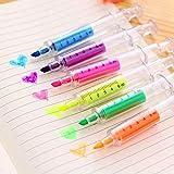 DishyKooker - 6 unidades de bolígrafos para oficina, aguja, jeringa, fluorescente, linda artística, marcador, marcador para estudiantes, artículos de papelería, regalos de producto