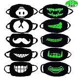 MOLYHUA Baumwolle Mund-Maske, 10 Pack Revel Cool Luminous Teens Gesichtsmaske Cute Teeth Pattern Kpop Maske Waschbar Anti Dust Cotton Halloween Mundmaske fr Mnner und Frauen