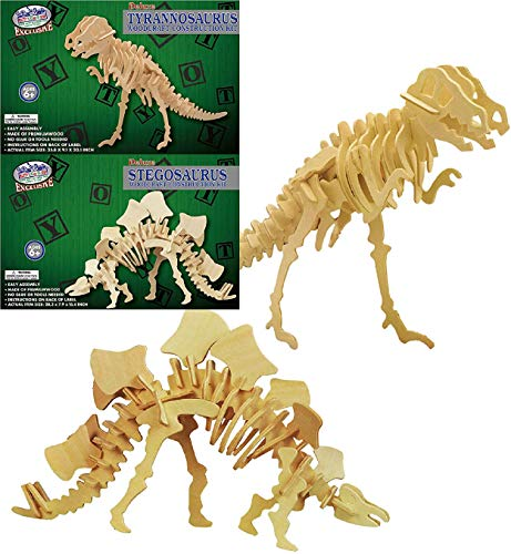 Matty's Toy Stop Deluxe Large 3D Dinosaur Wood Puzzle Craft Kits T-Rex Tyrannosaurus (35.8') & Stegosaurus (28.3') Gift Set Bundle - 2 Pack