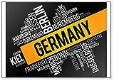 Kühlschrankmagnet'Liste der Städte in Deutschland', Wolkenmotiv