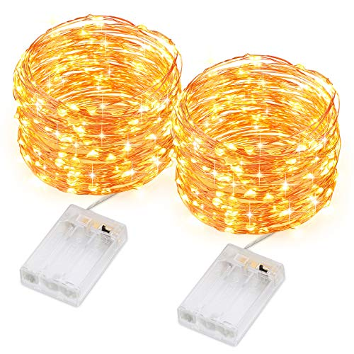 Criacr 2 Pack Fairy Lights, 10M 100 LED String Lights Battery Powered, 2 Modes Flexible Silver Wire Firefly Lights, for Bedroom, Wedding, Party, Tent Decoration, Halloween, Christmas(Warm White)