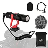 Moukey カメラマイク 外付けマイク 3.5mm変換ケーブル スマートホン/ビデオ/Vlog/Canon/Nikon/Sonyカメラ接続 (ビデオカメラ用外付けマイク) DSLR MCm-1