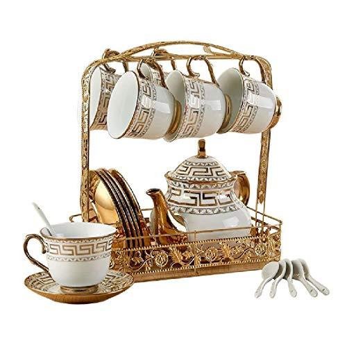 Juego de botellas de agua fría de cerámica resistente a altas temperaturas, juego de té creativo europeo taza de café/6 tazas 6 platos 1 estante 1 tetera