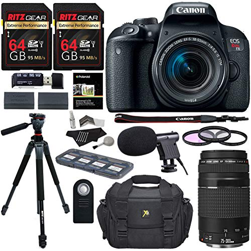 "Canon EOS Rebel T7i Digital SLR Camera 18-55mm STM Lens + Canon EF 75-300mm III Lens + Ritz 64GB + 60"" Tripod + Filter Kit + Bag + Microphone + Accessory Bundle"