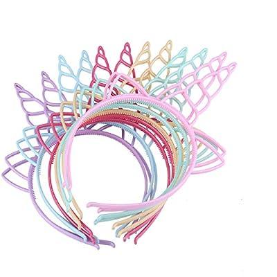 12 Pack Unidades de Diademas de Unicornio,Diadema de Unicornio de Plástico,Unicorn Headbands,Diademas de Plástico para Niñas,Diadema de Unicornio,Diademas de Plástico,para Cumpleaños,Halloween,Navidad