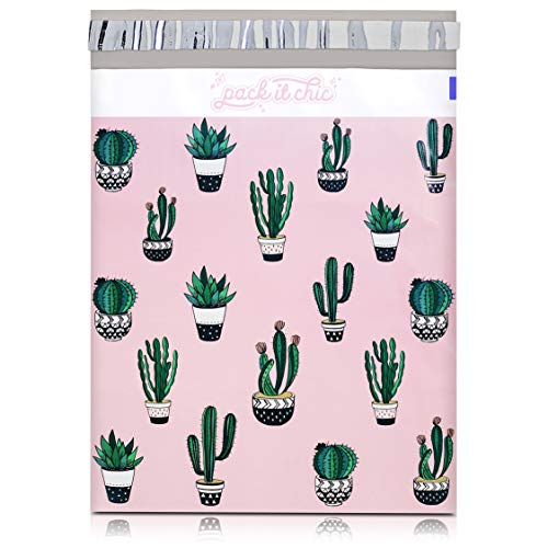 Pack It Chic - 10X13 (100 Pack) Cactus & Succulents Poly Mailer Envelope Plastic Custom Mailing & Shipping Bags - Self Seal