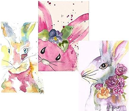 Surtido de tarjetas de nota de Pascua: 6 tarjetas de acuarela en blanco, con sobres, el conejo de Pascua