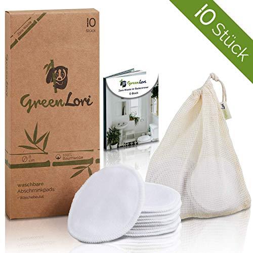 10 waschbare Abschminkpads 100% Baumwolle - wiederverwendbar - inkl. Wäschenetz und Zero Waste E-Book - umweltfreundliche Verpackung, sanft zu jedem Hauttyp – GreenLori®