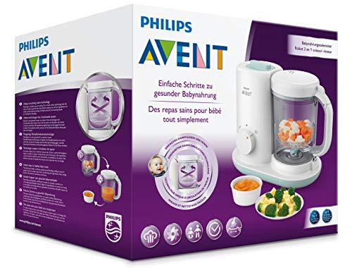 Philips AVENT 2-in1-Babynahrungszubereiter Dampfgaren & Mixen SCF862/02, weiß - 6