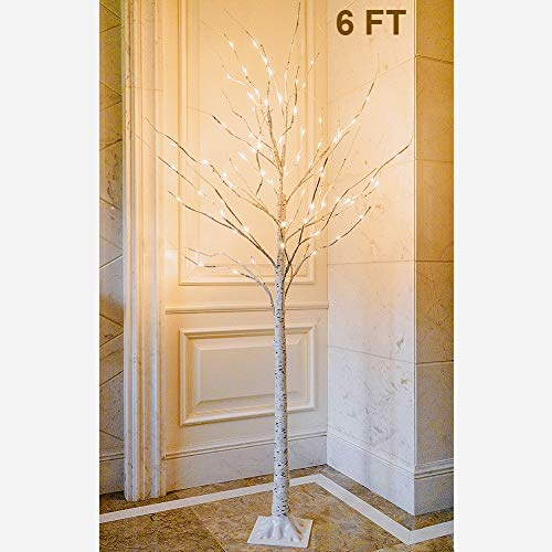 Twinkle Star Lighted Birch Tree 6 Feet 96 LED for Bedroom Wedding Christmas Festival Party Home Decoration