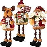 3 Piezas de Papá Noel Muñeco de Nieve Reno Sentado de Navidad...