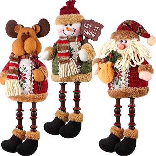 Sumind 3 Pieces Christmas Sitting Santa Claus Snowman Reindeer Christmas Ornament Long Legs Table Fireplace Decor Home Decoration Christmas Figurines Plush