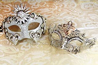 His & Hers Luxury Set Masquerade Masks [Silver Themed] - Bestselling Ivory Silver Phantom and Silver Laser Cut Masquerade Mask
