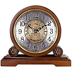 Weilingdun Mantel Clock Battery Operated Retro Basswood Silent Quartz 10.3 Shelf Desk Clock with Westminster Hourly Chimes Antique Vintage Table Clock, T20225
