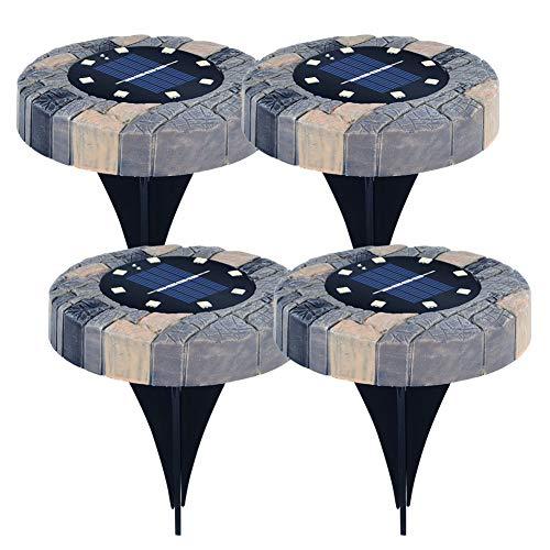 Lámparas solares para exteriores de jardín, 4 x 8 ledes, impermeables, para caminos de jardín bajo la tierra