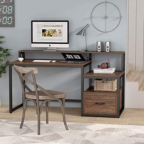 SuDeLLong Escritorio Escritorio de computadora de la Oficina de la Oficina Grande de la antigüedad de 59 Pulgadas de Moda con el cajón de Archivos y el Estante de Almacenamiento