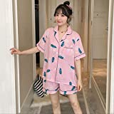 Cute Women Pyjamas Set Cartoon Impreso Transpirable de Manga Corta + Shorts 2pcs Ropa de Dormir Señoras Homewear Loose Casual Wear XXL Pink