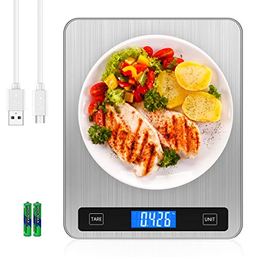 Brifit Digital Kitchen Scale, 20kg/44lb Food Scales with Large Stainless...