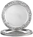 Old Dutch 13' Embossed Victoria, Set of 6 Charger Plates, Antique Pewter