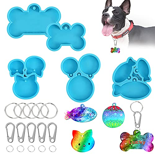 Dog Bone Silicone Molds for Resin,5pcs Pet Cat Head/Fish/Round Pendant Small Animal Keychain Resin Mold Kit, Dog Tag Mold for Epoxy Resin with 5pcs Quick Clip and 10pcs keychain Ring, Decorations, Dog Pet ID Tag