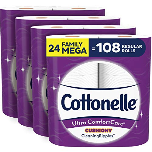 Cottonelle Ultra ComfortCare Toilet Paper with Cushiony CleaningRipples, 24 Family Mega Rolls, Soft Bath Tissue (24 Family Mega Rolls = 108 Regular Rolls)