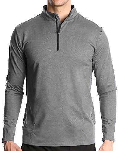 Fort Isle Men's Long Sleeve Half-Zip Pull Over Shirt - XL - Light Gray - Quick Dry Performance for Running