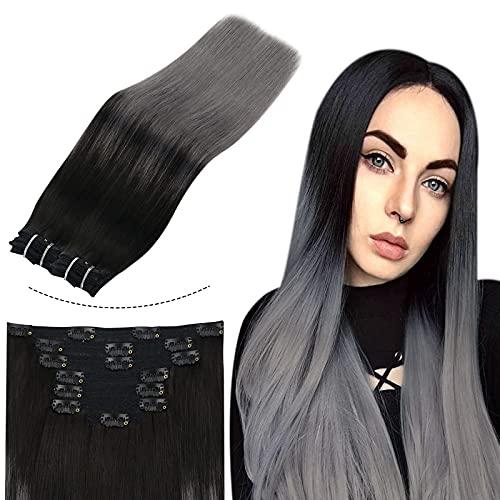 Sunny Extension a Clip Noir et Gris Cheveux Humain Clip in Hair Extensions Human Hair Balayage Noir Ombre mixte Gris Vrai Cheveux 50cm 7pcs/120g