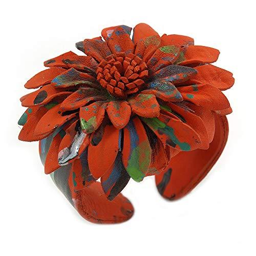 Avalaya - Bracciale grande in pelle con fiore arancione, regolabile
