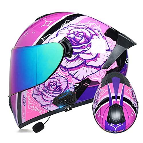 LIRONGXILY Casco Moto Modular Casco Integral Casco Moto Bluetooth Integrado Casco Modular con Doble Visera Casco Moto Jet para Hombre O Mujer ECE Homologado (Color : #19, Size : 57-58cm(M))