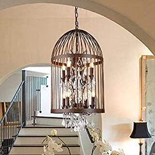 Efperfect Bird Cage Crystal Chandelier - Metal Cage Chandelier - USA Country Iron Chandelier Bird Cage Creative Wine Lamp (Gold),USA Stock
