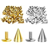 100pcs Metal Spikes Rivet with Stud Screw-Back Quick Install Bullet Cone Spike Punk Stud...