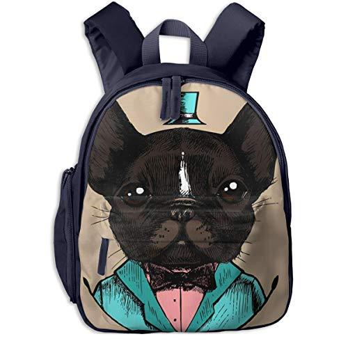 Kinderrucksack Kleinkind Jungen Mädchen Kindergartentasche Hund Bulldogge Smoking Hipster Backpack Schultasche Rucksack