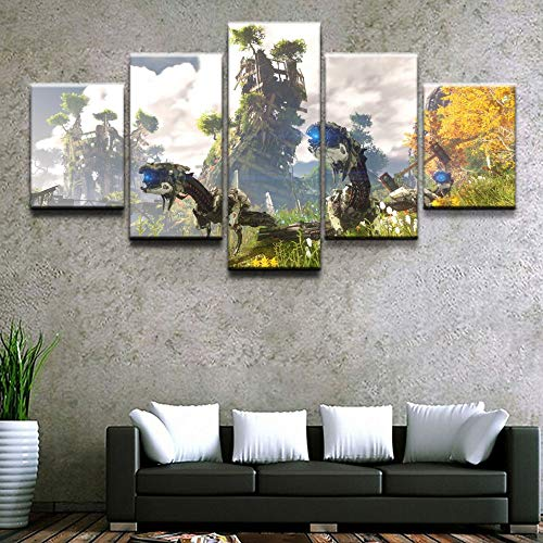 nobrand 5 canvasdruk canvas HD-prints afbeelding muurkunst 5 stuks Horizon Zero Painting spel Home Decoration Poster Woonkamer