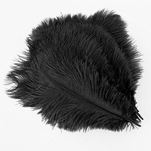 20 x plume d'autruche naturel 25-30cm noir fêtes décoration
