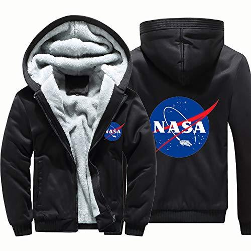 NASA Bomber Chaquetas Hombre Espesar Suelto Manga Larga Casual para Abrigos Cremallera Sudadera con Capucha,Negro,L