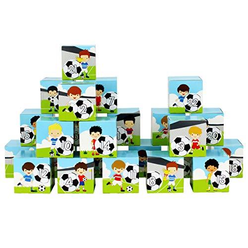 Papierdrachen Calendario de Adviento para rellenar, juego de cajas, diseño de partidos de fútbol, 24 cajas de cartón de colores para colocar y rellenar, 24 cajas, Navidad 2019