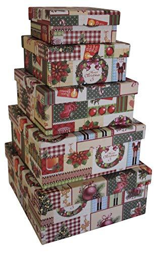 0 41442 Weihnachtsgeschenkkarton Deko - 5 tlg, quadratisch