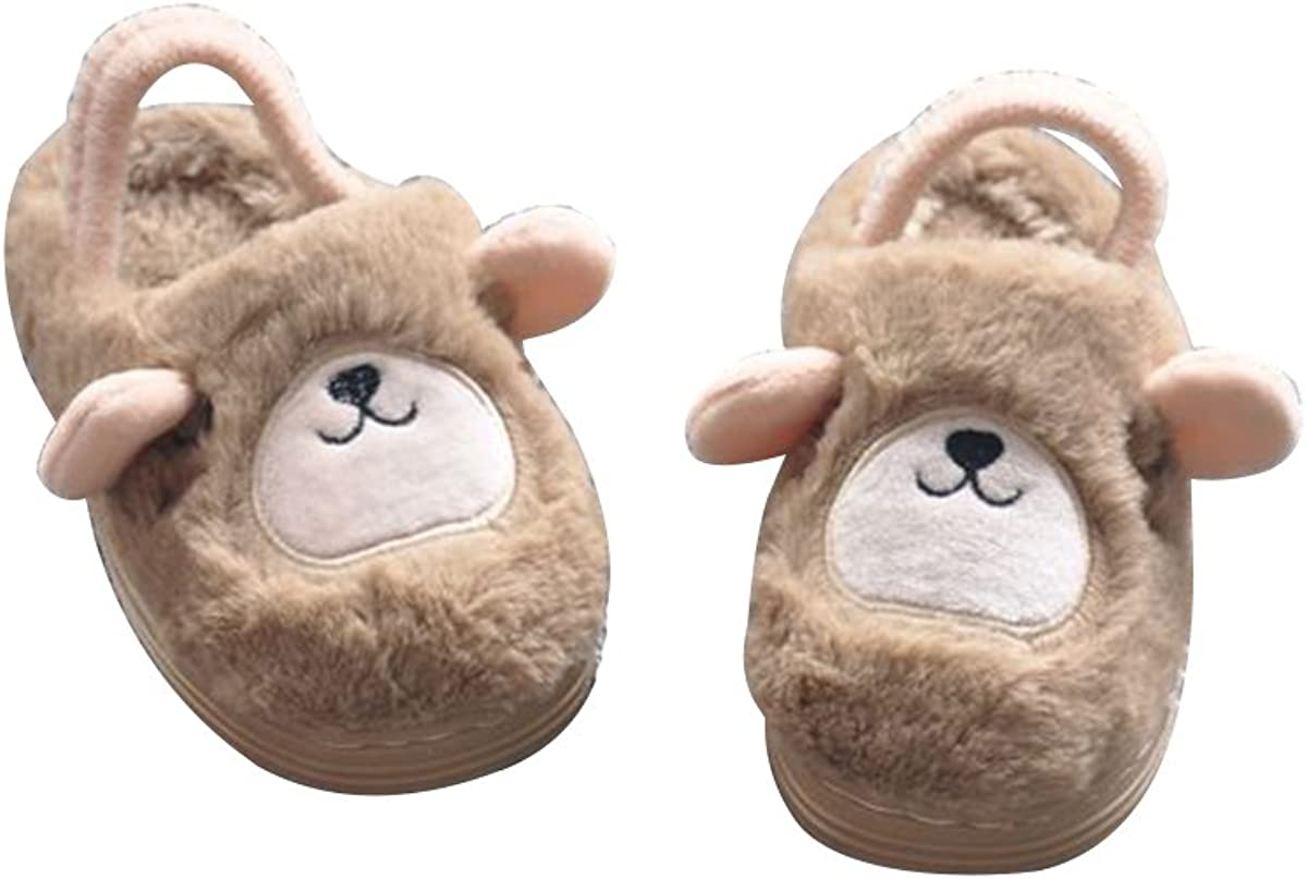 TINKSKY Boys Girls Cute Soft Warm Slippers Non-slip Home Winter Shoes for Toddlers Kids - Size 18-19 (Brown Bear)
