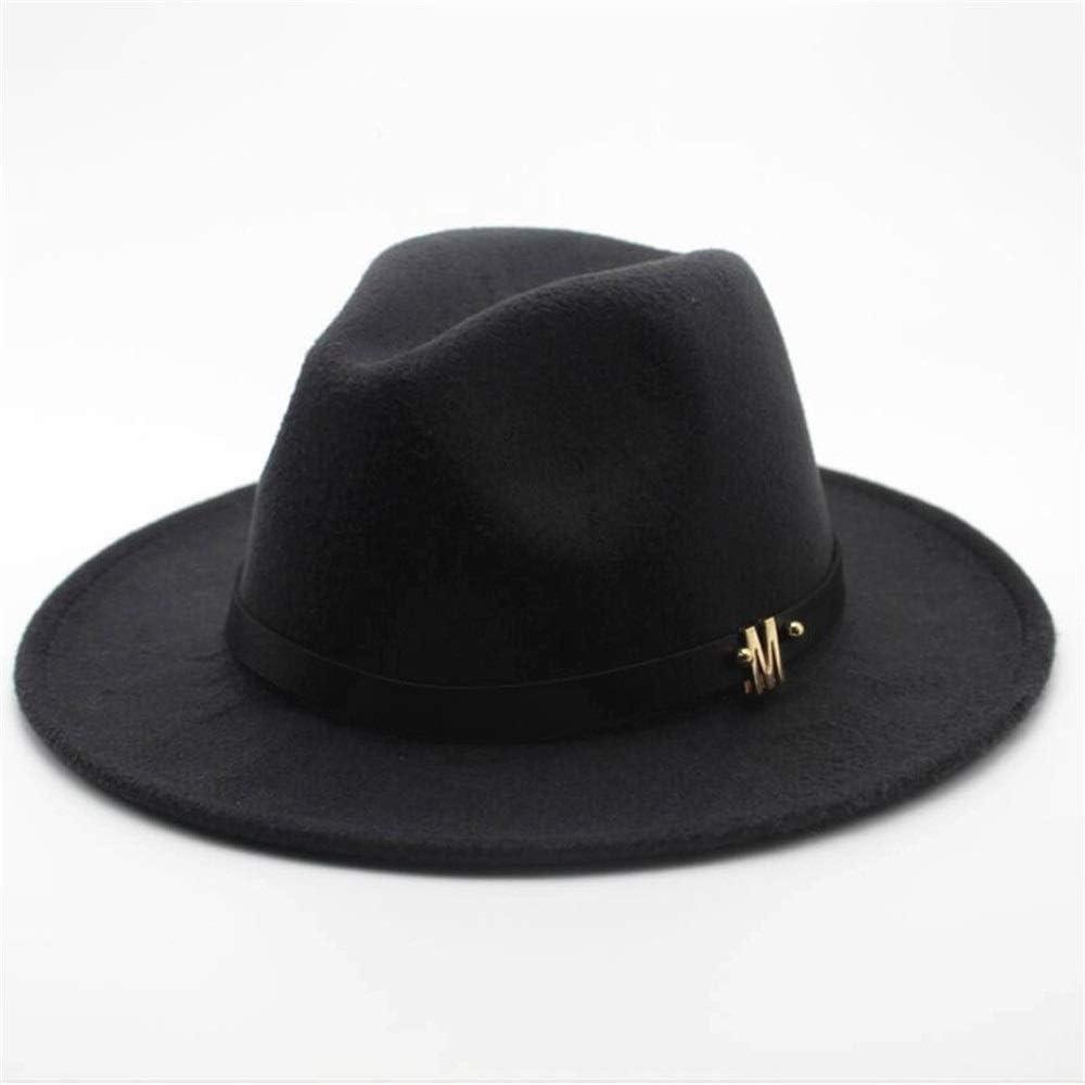 No-branded Unisex Men Women Wool Fedora Hat with Belt Autumn Jazz Hat Winter Church Trilby Fascinator Size 56-58CM ZRZZUS (Color : Dark Gray, Size : 56-58)