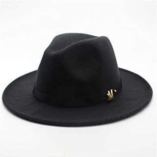LiJuan Shen Unisex Men Women Wool Fedora Hat With Belt Autumn Jazz Hat Winter Church Trilby Fascinator Hat Size 56-58CM