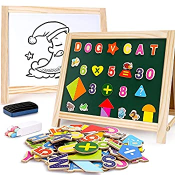 BeebeeRun Wooden Art Easel 2 Sides Tabletop Drawing Board for Kids Magnetic Whiteboard and Chalkboard with Magnetic Letters Numbers and Other Accessories Education Toys for Toddlers Boys and Girls