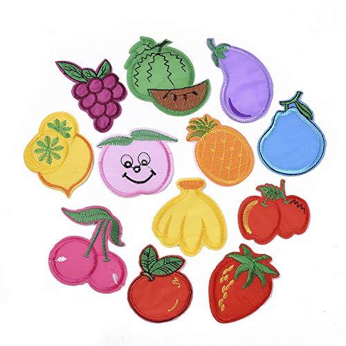 Craftdady 120 parches bordados para planchar o coser con diseño de frutas variadas para manualidades, chaqueta, camisetas, sombreros