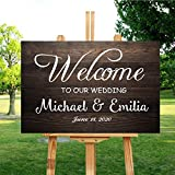 LLIGHT Personalized Welcome to Our Wedding Sign, Rustic Wooden Welcome Sign Customized with Your Names and Dates - 18x24 Inch