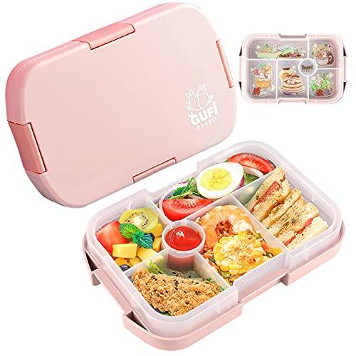 Lunchbox mit 6 Unterteilten Fächern Robust und Auslaufsicher Brotzeitbox,Box Kinder Brotdose,1000ML Jausenbox Mikrowellen und Spülmaschinen, Brotbox für Kindergarten, Schule und Picknick