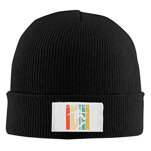 Lawenp Strickmütze aus 100% Polyester für Herren und Damen, warme Skater-Silhouette-Strickmütze im Retro-Stil