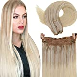 Halo Hair Extensions Blonde LaaVoo Remy Halo Extensions Human Hair Balayage Ash Blonde Ombre Medium Blonde and Platinum Blonde Real Halo Human Hair Extensions Double Weft One Piece 80g/16'