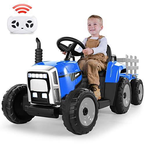 Metakoo Trattore Elettrico con Rimorchio, Veicoli Elettrici a Batteria per Bambini 12V 7Ah con Telecomando 2.4G, Cambi di Marcia 2+1, Clacson, Bluetooth, Porta USB, Lettore MP3, Fari a 7 LED (Blu)