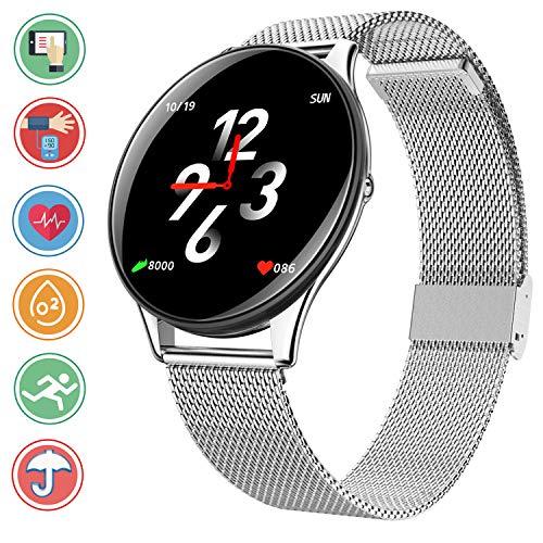 Bluetooth Smartwatch con Fitness Tracker - IP68 impermeabile Smart Bracciale con Calorie Heart Rate Sleep Monitor Blood Pressure Ossigeno Pedometro Sport Wristband Info Sync per Android e iOS,Argento
