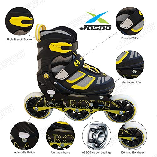 JASPO Marque Adjustable Inline Skates with Carbon Bearing for 6 and Above Years Old (Yellow, Large)