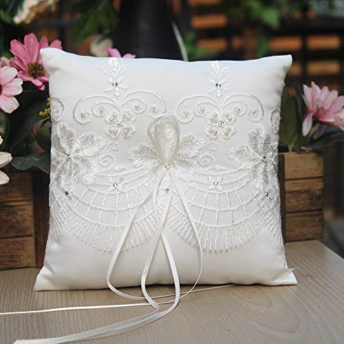 Amajoy 19x19 cm Satin and Lace Wedding Ring Pillow Cushion Embellished with Bow , 7.5 Inch Ring Bearer for Beach Wedding, Wedding Ceremony